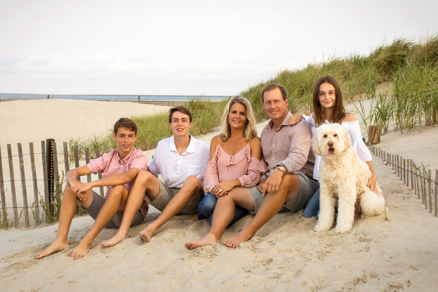 Family Portrait of the Hines Family with their dog Maggie